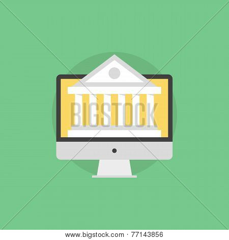 Web Banking Flat Icon Illustration