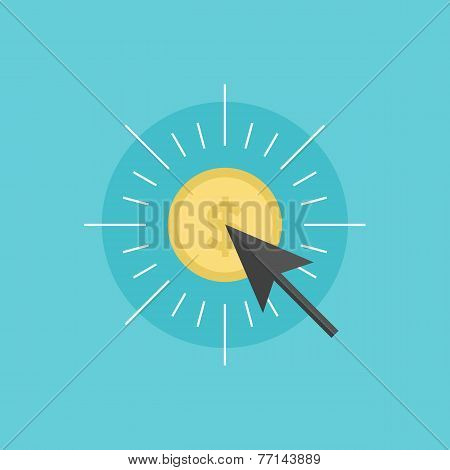 Pay Per Click Flat Icon Illustration