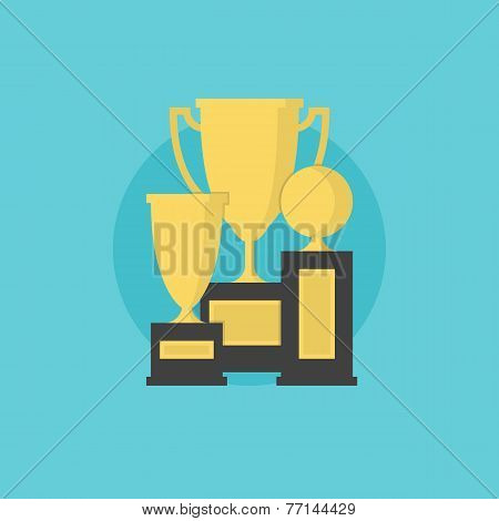 Prize And Awards Flat Icon Illustration