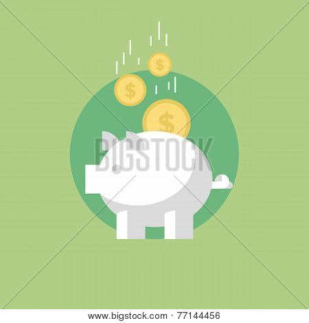 Piggy Bank Flat Icon Illustration