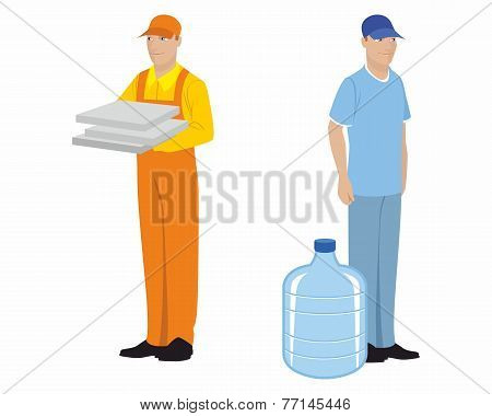 Two Couriers On White