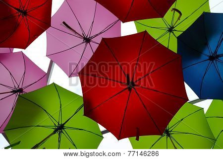 Colourful umbrellas hanging on a ceiling