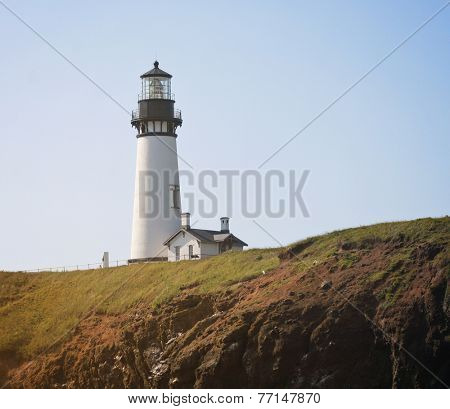 image from outdoor texture background series (old white lighthouse on the ocean coastline)