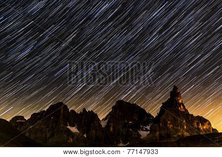 Star Trails Over Pale Di St.Martino