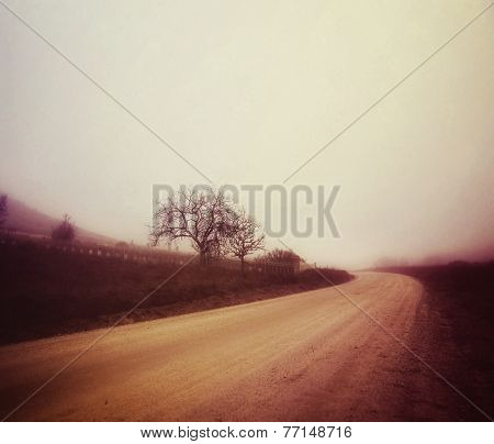 a dirt road in the fog on an autumn day toned with a retro vintage instagram filter effect