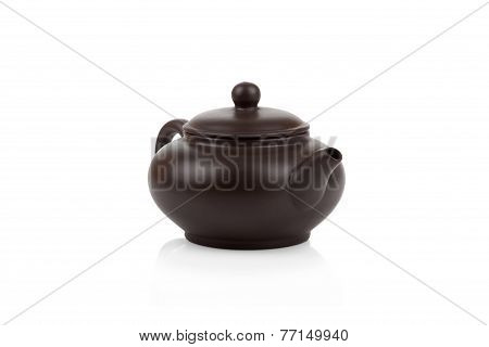 Traditional Asian Clay Teapot Isolated