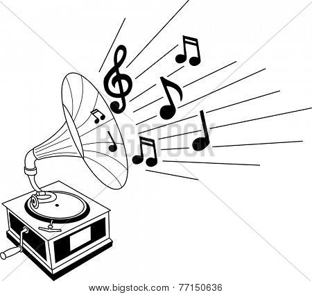 Black and white illustration of a gramophone with musical notes