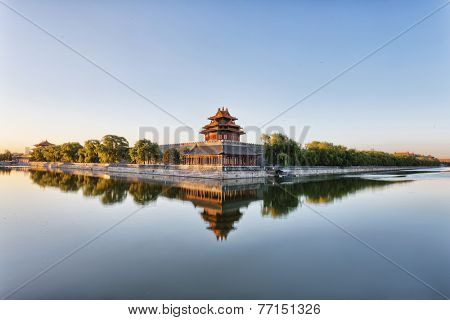 moat and watchtower of imperial palace in Beijing china