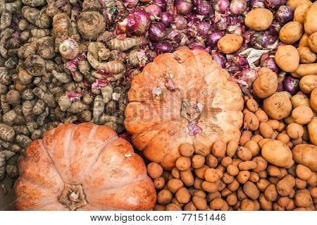 Organic Pumpkins, Ginger And Potato At Market