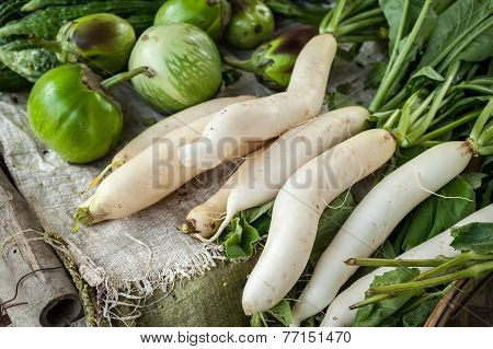 Daikon Radish And Eggplant At Asian Market