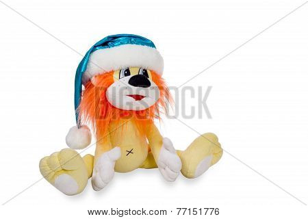 Toy Lion In Santa Hats