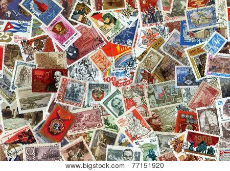 Background Of Soviet Stamps