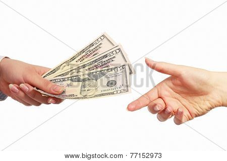 Hand giving money, isolated on white background