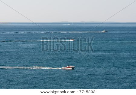 Boats Racing In The Sea