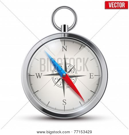 Glossy Bright Vintage Compass. Vector Illustration.