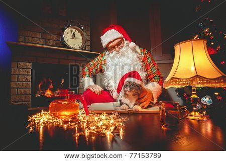 Santa Claus sitting with his cat at home near Christmas tree and  resting by his fireplace