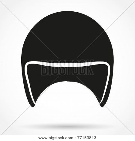 Silhouette symbol of motorbike classic helmet. Vector.