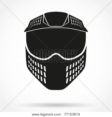 Silhouette symbol of paintball mask with goggles. Original design. Vector