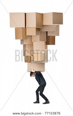 Shop assistant carries the huge parcel, isolated, white background