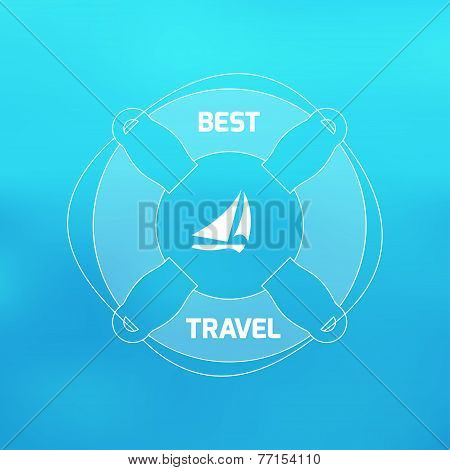 Vector Blurred Background With Image Lifebuoy And Sailing Ship