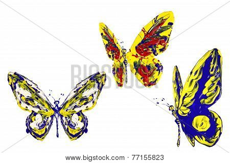 Blue Red Yellow Paint Made Butterfly Set