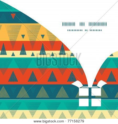 Vector vibrant ikat stripes Christmas gift box silhouette pattern frame card template