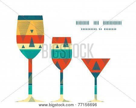 Vector vibrant ikat stripes three wine glasses silhouettes pattern frame