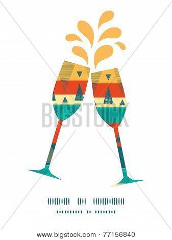 Vector vibrant ikat stripes toasting wine glasses silhouettes pattern frame