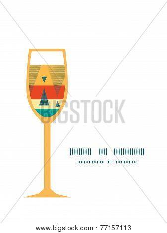 Vector vibrant ikat stripes wine glass silhouette pattern frame