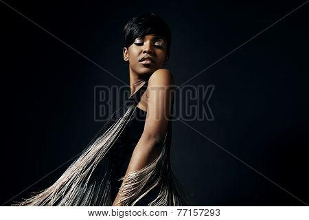 Beauty Dancing Woman With A Moving Dress