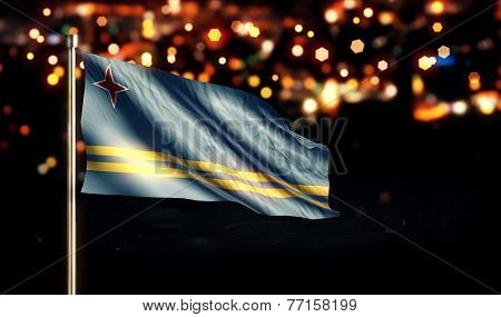 Aruba National Flag City Light Night Bokeh Background 3D