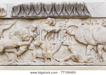 Ornament in Delphi museum, Greece - art background