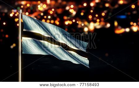 Botswana National Flag City Light Night Bokeh Background 3D