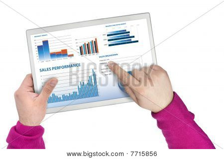 Sales Performance And Business Graphs On A Touchscreen Tablet