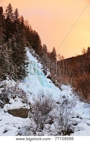 Waterfall Stuibenfall at Umhausen Tirol Austria - nature and travel background