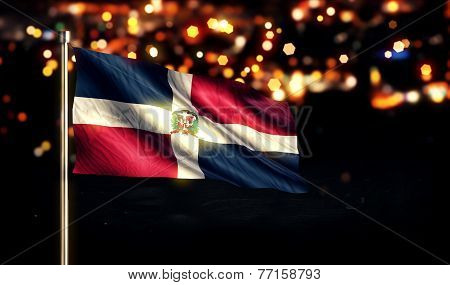 Dominican Republic National Flag City Light Night Bokeh Background 3D