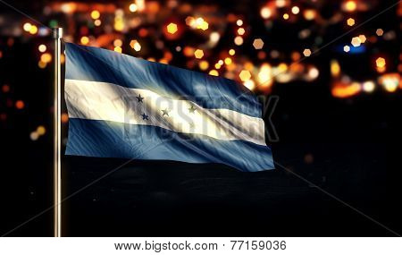 Honduras National Flag City Light Night Bokeh Background 3D