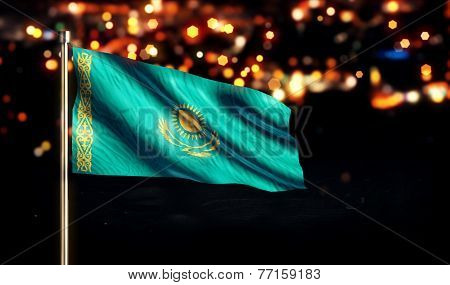 Kazakhstan National Flag City Light Night Bokeh Background 3D