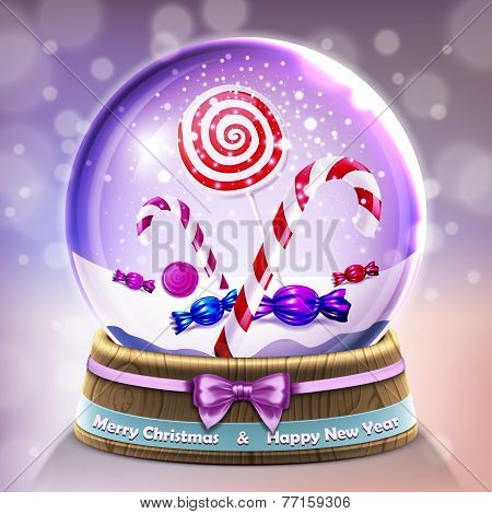 Snow Glass Crystal Ball With Christmas Lollipops And Candycanes In Vector