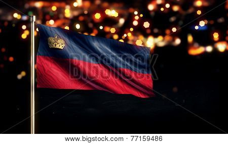 Liechtenstein National Flag City Light Night Bokeh Background 3D