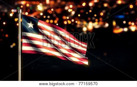 Liberia National Flag City Light Night Bokeh Background 3D