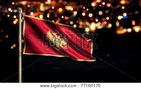 Montenegro National Flag City Light Night Bokeh Background 3D