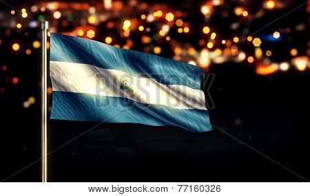 Nicaragua National Flag City Light Night Bokeh Background 3D