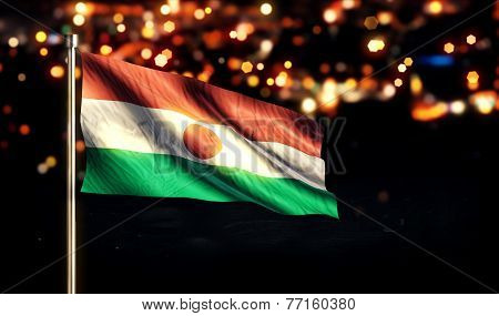 Niger National Flag City Light Night Bokeh Background 3D