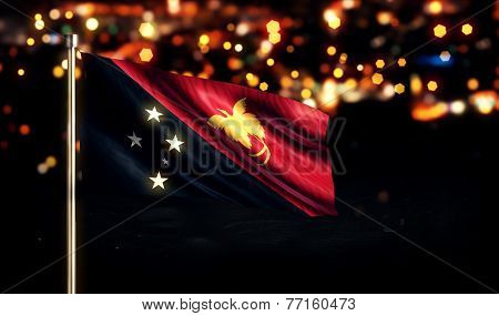 Papua New Guinea National Flag City Light Night Bokeh Background 3D