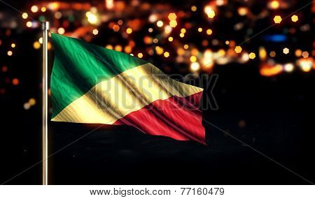 Congo National Flag City Light Night Bokeh Background 3D