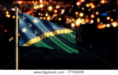 Solomon Islands National Flag City Light Night Bokeh Background 3D