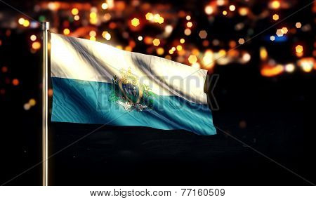 San Marino National Flag City Light Night Bokeh Background 3D