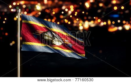 Swaziland National Flag City Light Night Bokeh Background 3D