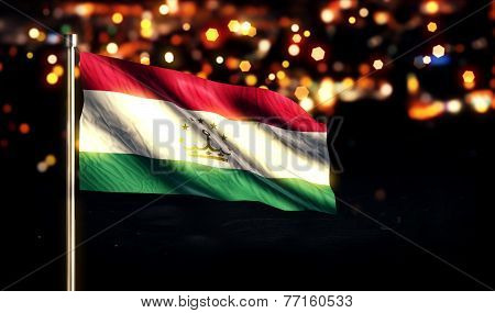 Tajikistan National Flag City Light Night Bokeh Background 3D